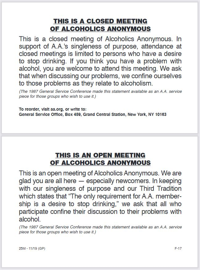 Description of Open and Closed A.A. Meetings